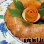 کیک پرتقال با گلِیز پرتقالی